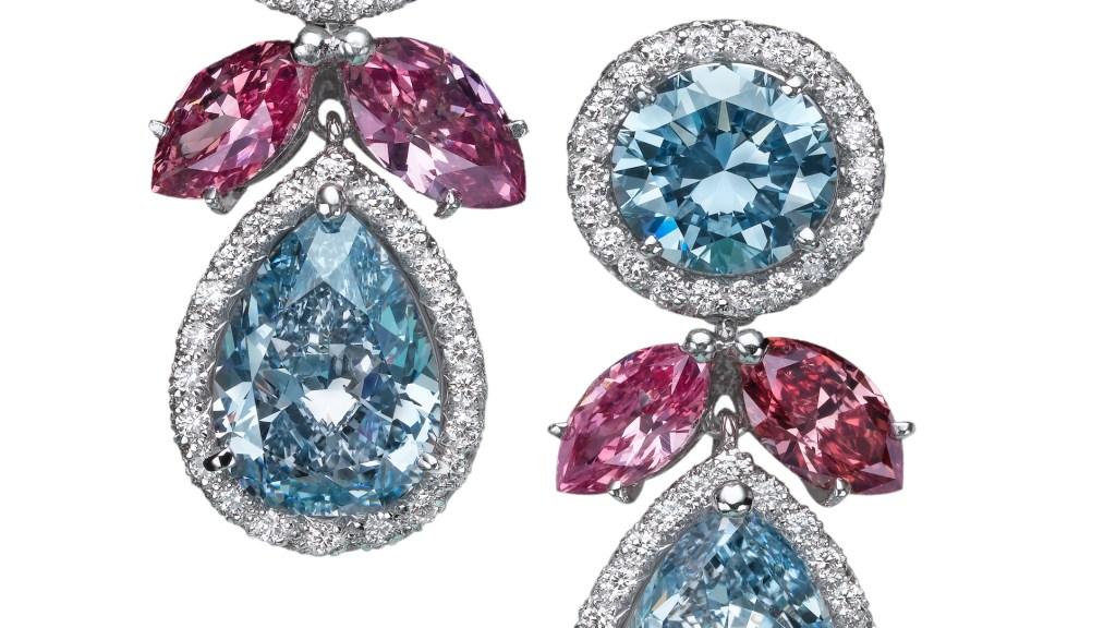 Natürliche Fancy Blue und Pink Diamond Ohrringe Moussaieff