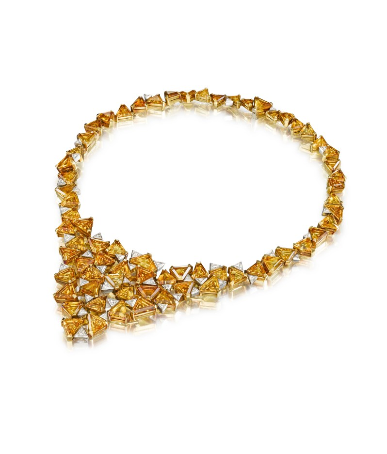 A gold, citrine and diamond necklace by Andrew Grima