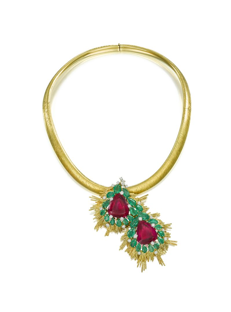 Gold, pink tourmaline and emerald and diamond pendant by Andrew Grima