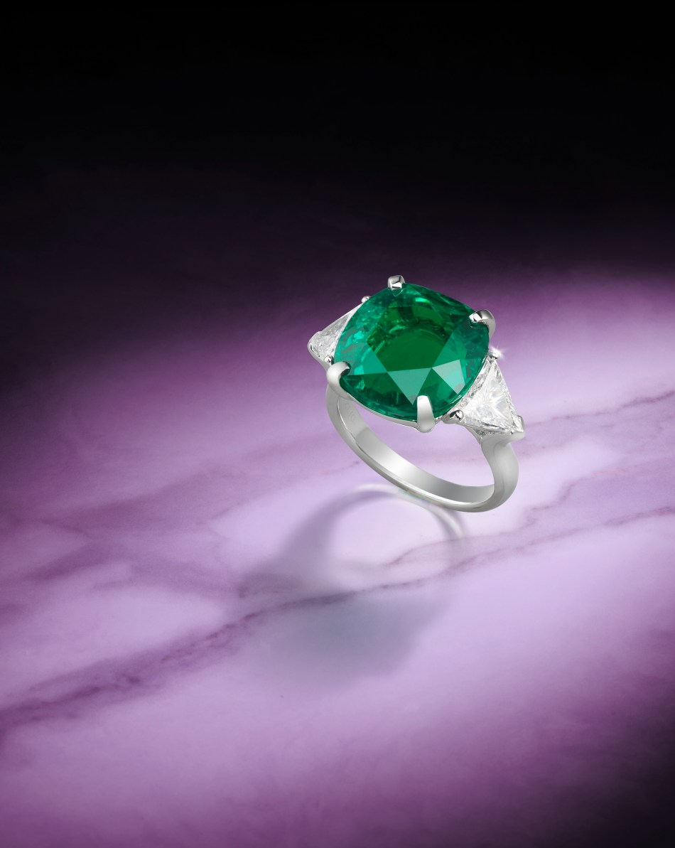 A 10.02 carat Colombian Emerald and Diamond ring