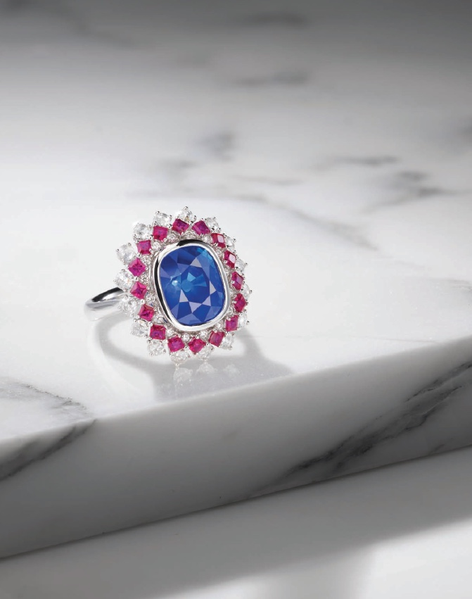 A 6.96 Kashmir Sapphire, Ruby and Diamond Ring