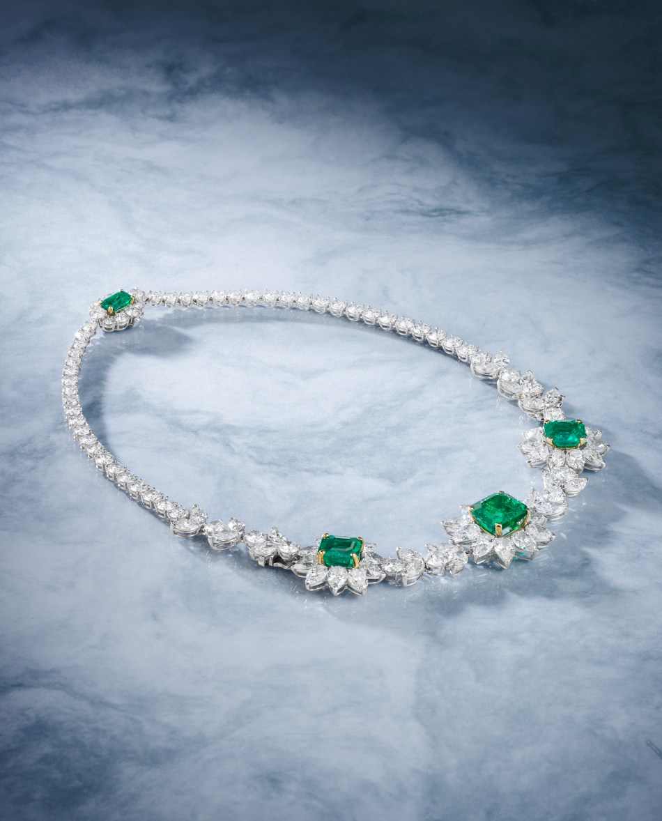 Bonhams A Colombian Emerald and Diamond necklace by Harry Winston