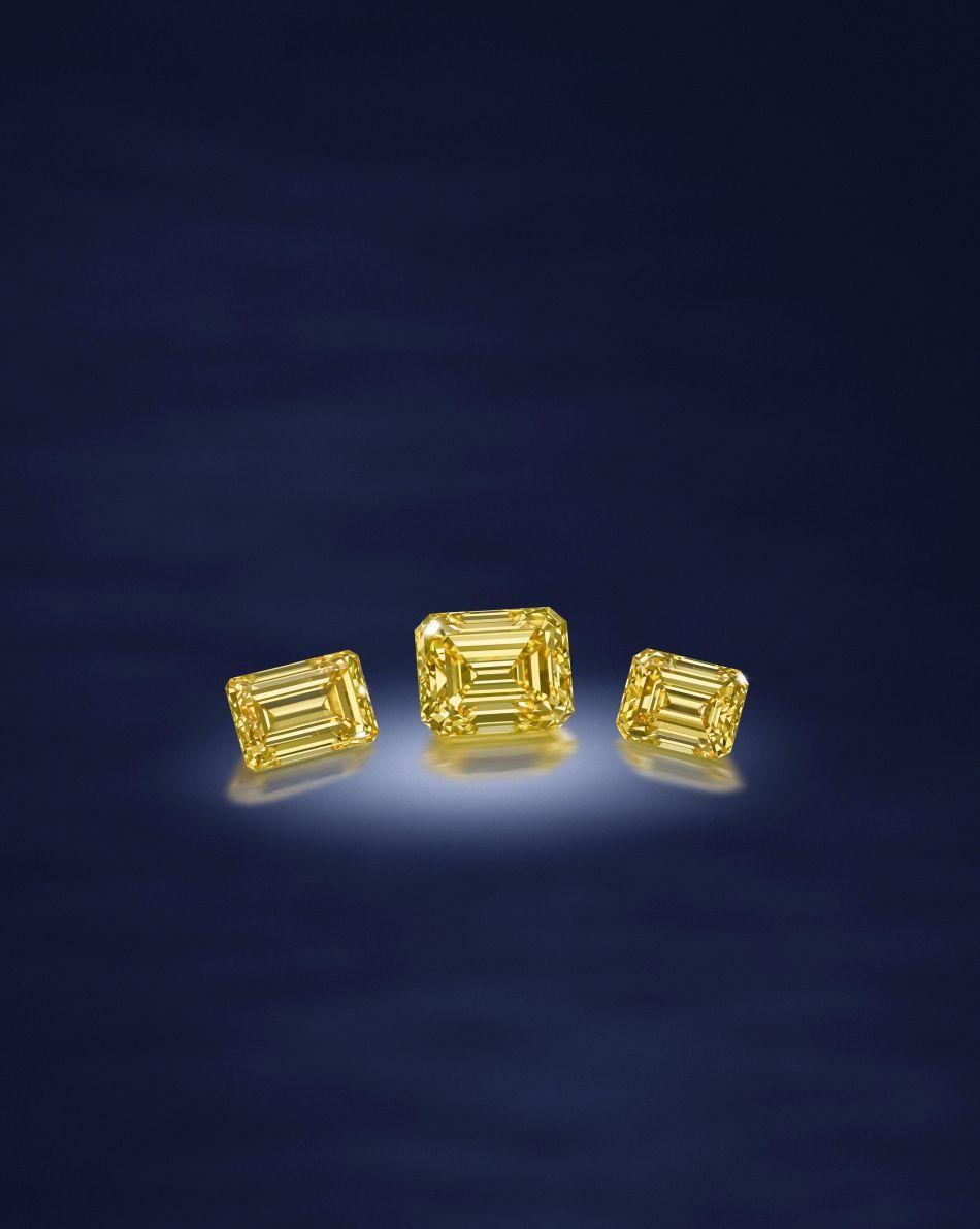 Fancy Vivid Yellow Diamonds. Lot 122