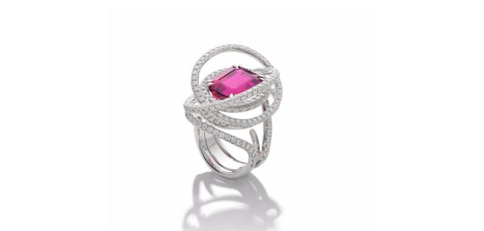 A RUBELLITE TOURMALINE AND DIAMOND RING, by Margherita Burgener