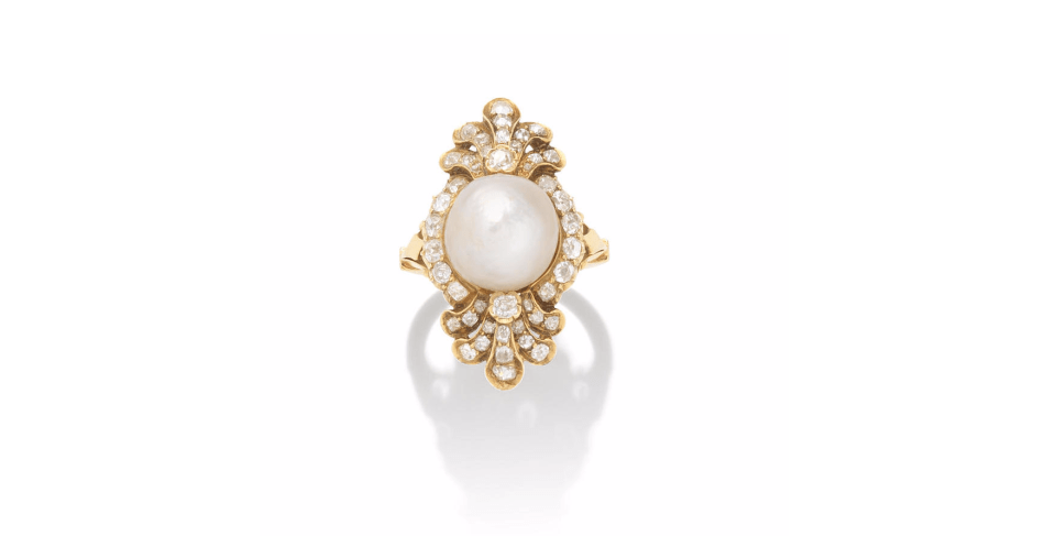 A LATE 19TH CENTURY NATURAL PEARL AND DIAMOND RING