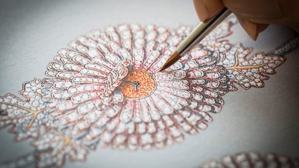 Le Jardin Van Cleef & Arpels Chrysanthème Secret Watch gouache