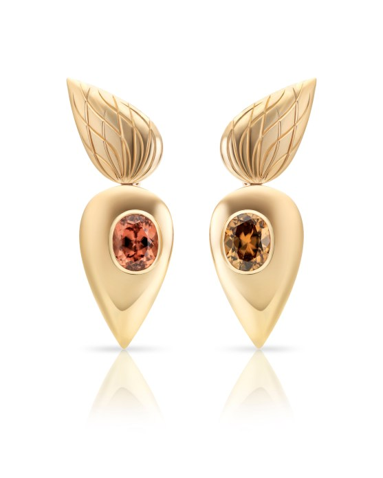 Cora Sheibani - Owl Earrings, Yellow Gold & Zircons