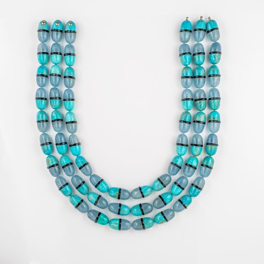 Cora Sheibani - Triple Aquamarine, Turquoise & Smokey Quartz Pill Necklace