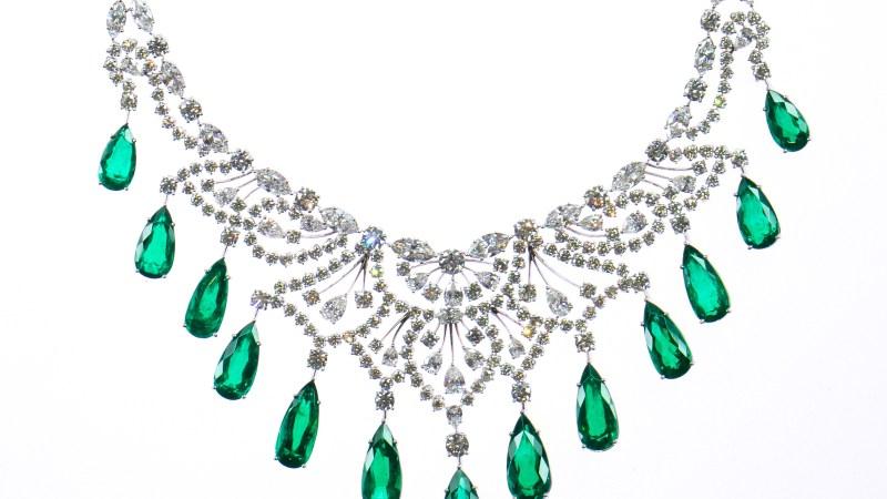 MICHAEL GAD. Emeralds and diamond necklace