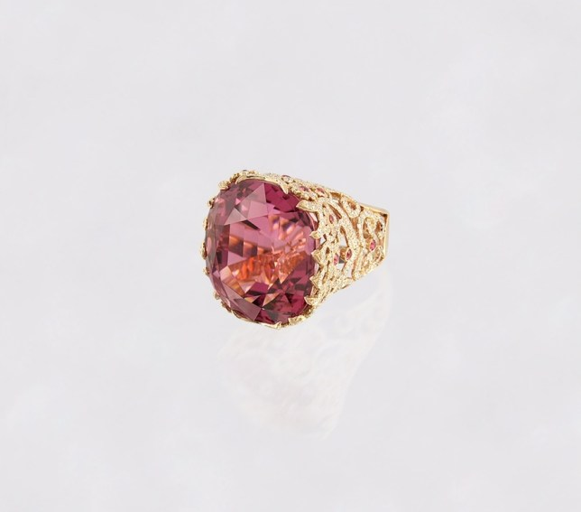 Alexander Tenzo - Pink Tourmaline Ring - Pink Spinels and Diamonds.