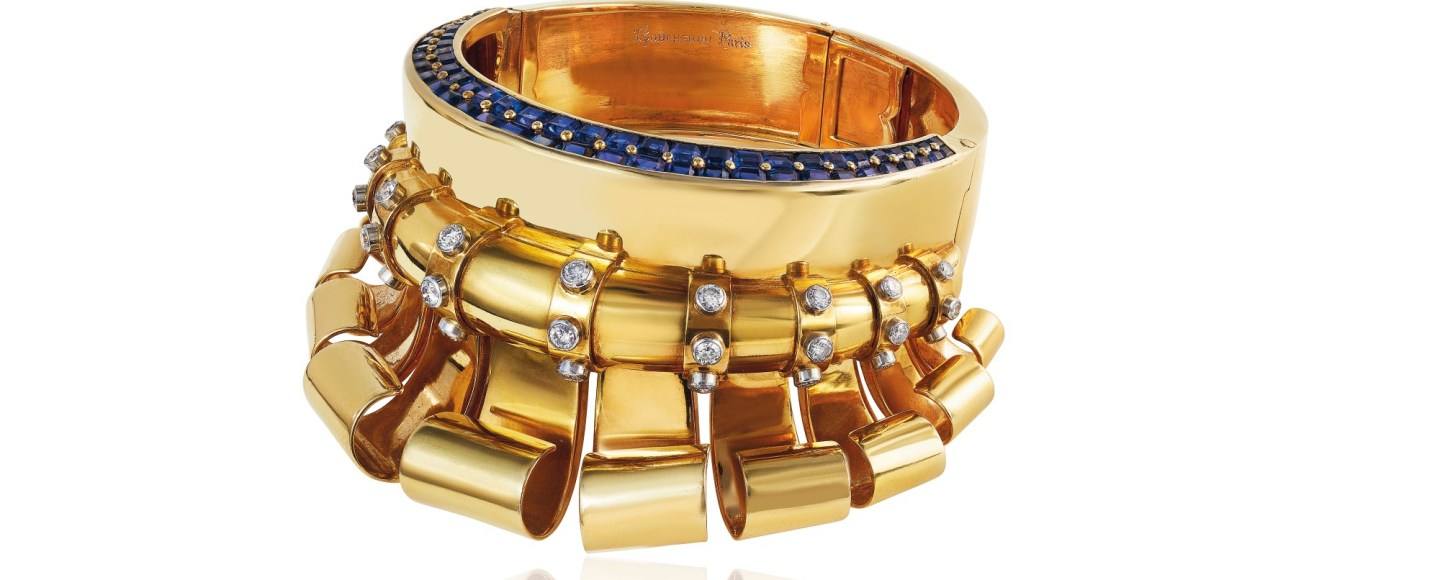 RETRO SAPPHIRE AND DIAMOND 'MEDICIS' BANGLE, BOUCHERON