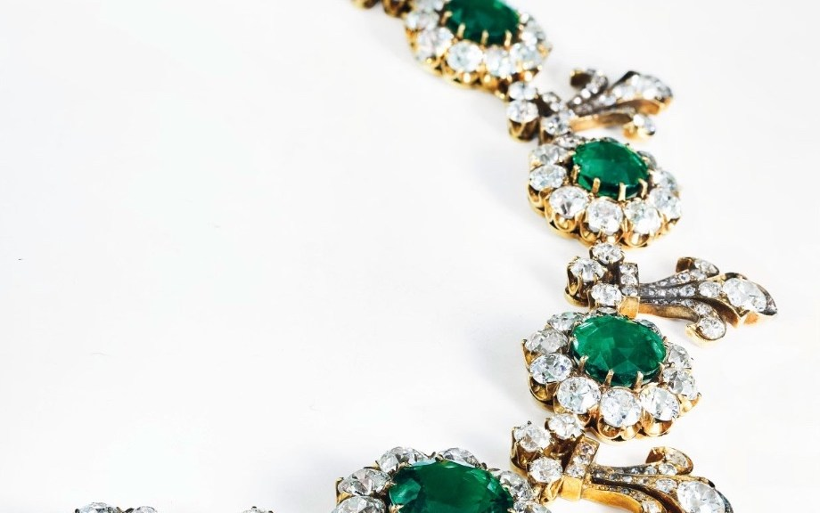 Tiffany & Co emerald and diamond necklace