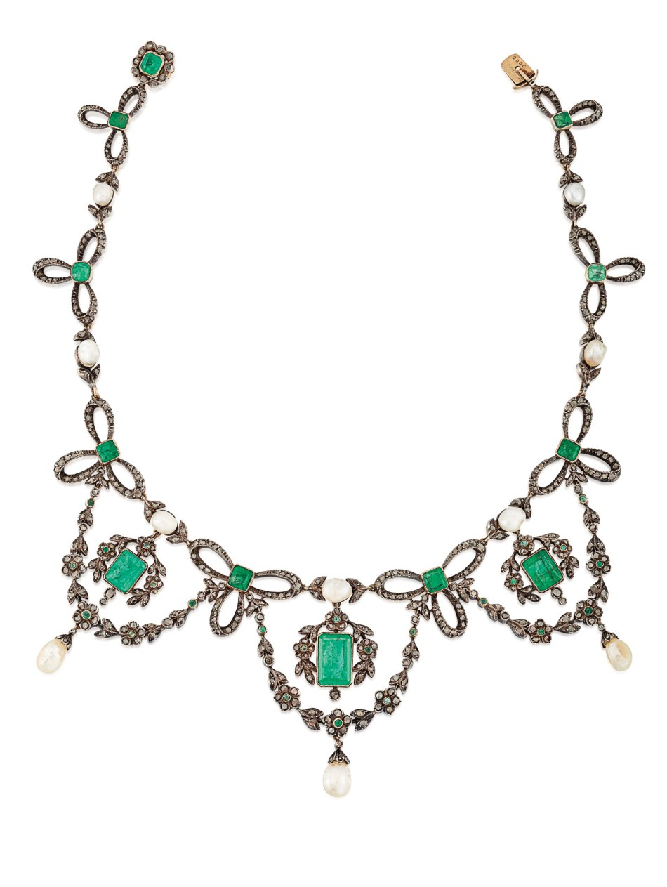 LATE 19TH CENTURY EMERALD AND DIAMOND TIARA / NECKLACE