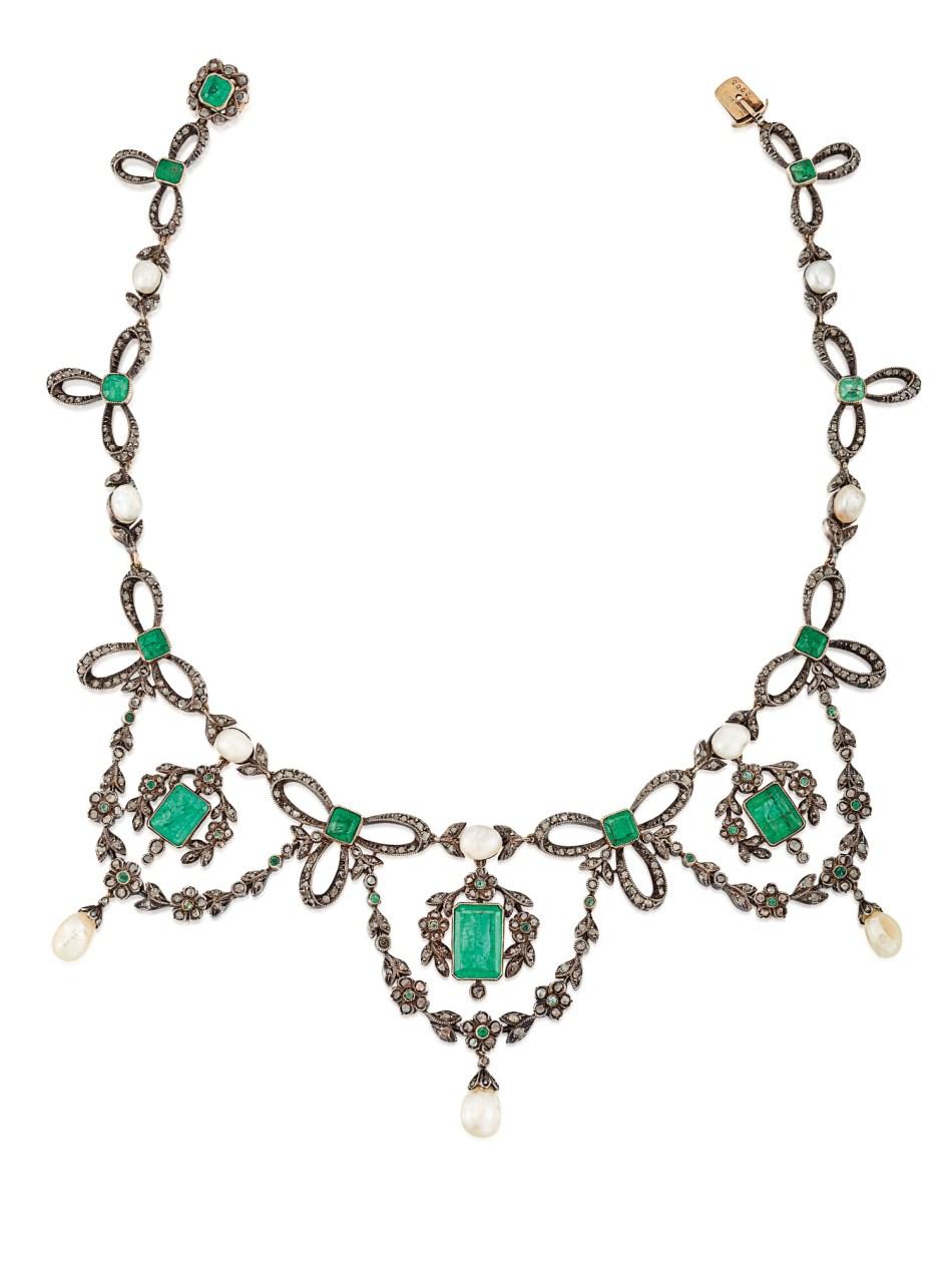 LATE 19TH CENTURY EMERALD AND DIAMOND TIARA / NECKLACE