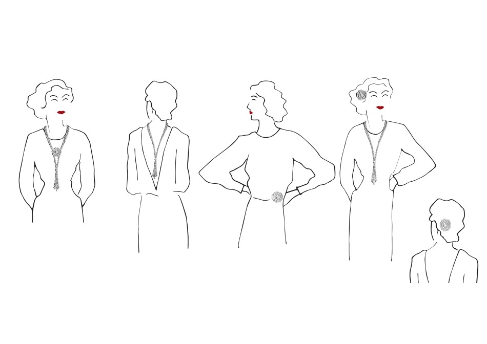 Chanel 1.5 - 1 Camélia, 5 Allures High Jewellery Collection. How to wear the Révélation Diamant Necklace