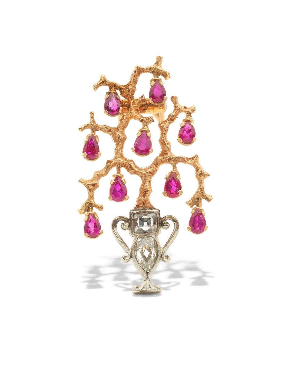 マリオ・ブッカラティによるルビーとダイヤモンドのジャルディネットブローチ