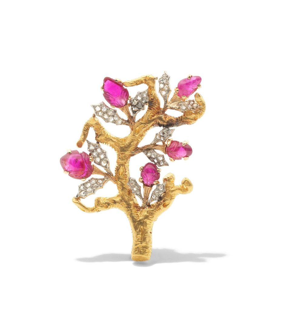 A ruby and diamond tree brooch, by Buccellati