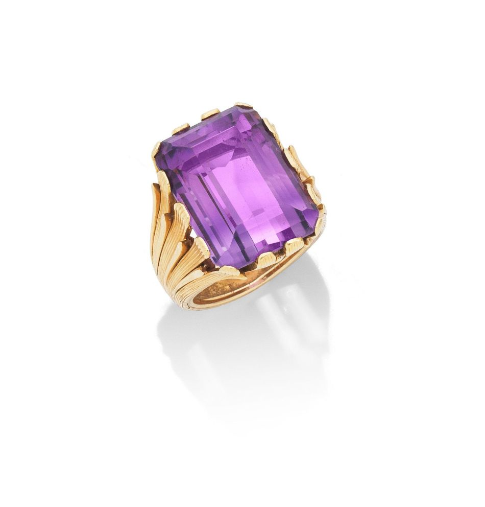 A gold and amethyst ring, by Mario Buccellati