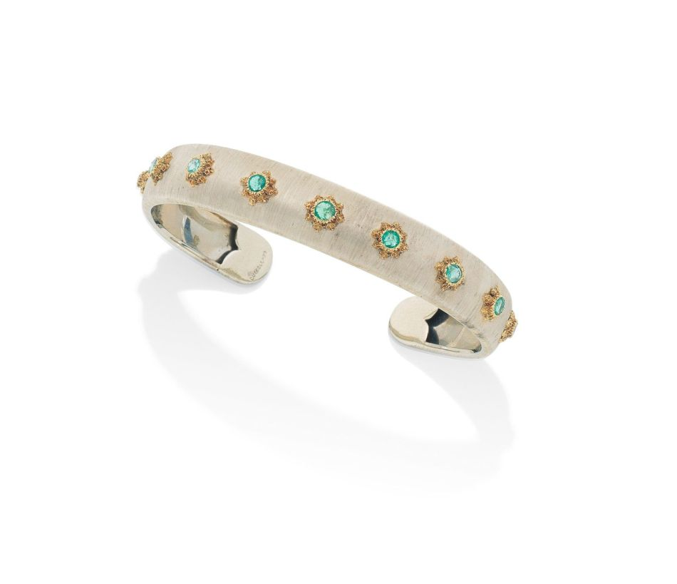 A varicoloured gold and emerald bangle, by Buccellati