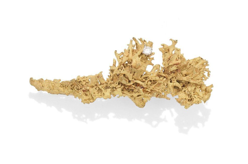 A diamond lichen brooch, by Grima