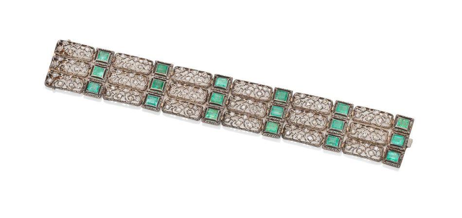 An emerald and diamond bracelet, by Mario Buccellati