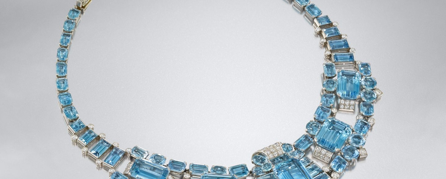 Bonhams London - Aquamarine dan kalung berlian Art Deco, karya Cartier,