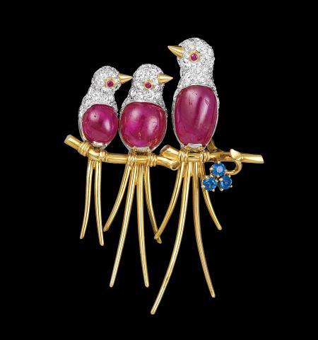 Van Cleef & Arpels. Three Birds Clip