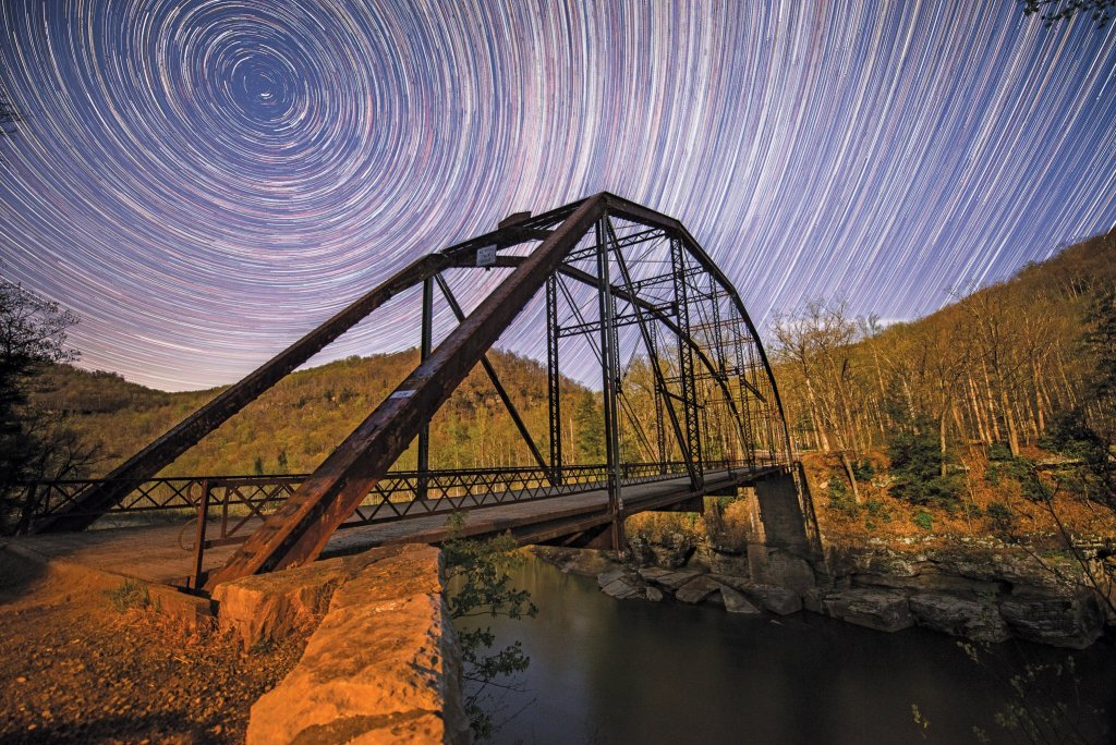 WV Night Photography: Jenkinsburg Cheat River Bridge Star Trails