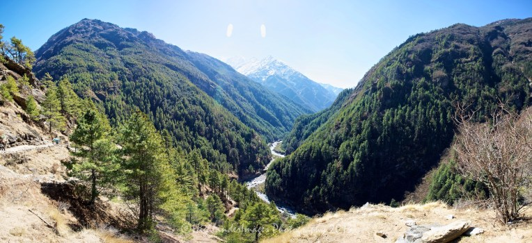 A panorama looking back down the Khumbu Valley with the Dudh Kosi River between Jorsalle and Namche Bazaar.