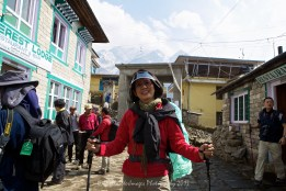 Suit Yoo at Lukla preparing to start the 7 day trek to Tengboche and back