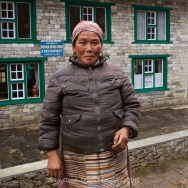 Nepalese lady at the Dudha Koshi Lodge and Restaurant between Koshigaun village and Phakding
