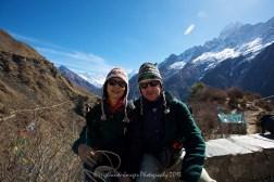 Stuart and Suit Yoo with the wonderful vista behind of Mount Everest, Taboche, Nuptse, Lhotse, Lhotse Shar and Ama Dablam.