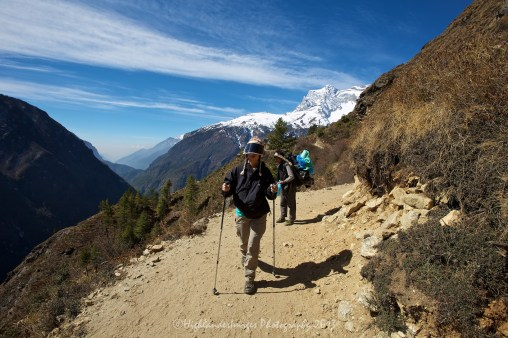 The trail between Namche Bazaar and Tengboche was the most stunning so far on the trek and we were luck to have a clear sunny day so all the surrounding mountains were visible.