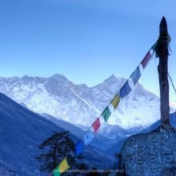 Dawn view of Mount Everest, Nuptse, Lhotse, and Lhotse Shar from Tengboche.