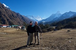 Stuart and Suit Yoo at Tengboche with Mount Everest in the background.