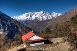 Looking back down the Khumbu Valley towards Namche Bazaar from Tengboche at the start of our return trek.