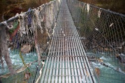 The final suspension bridge before Phakding on the return trek from Namche Bazaar to Phakding.