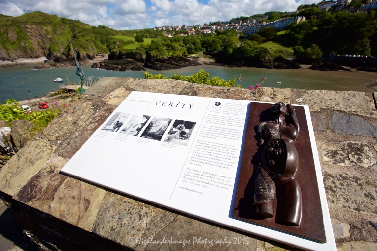 Verity statue by Damien Hirst, Ilfracombe, Devon, Uk.