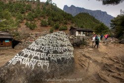 Mani stone Between Phakding and Monjo as we head up the Khumbu Valley