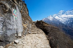 Large Mani stone inscription on the trail between Namche Bazaar and Tengboche.