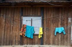 Washing hung up in the rain at Phakding.