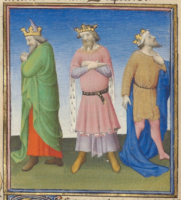 Three men, all wearing crowns, stand in a line. The man on the left is turned away from the other figures, is wearing a green cloak and looks down at his hands. The man in the center faces straight ahead, is wearing a pink robe, has his arms crossed, and looks down towards the ground. The man on the right is turned away from the other figures, is wearing a blue cloak and brown tunic, and is looking up at the sky.