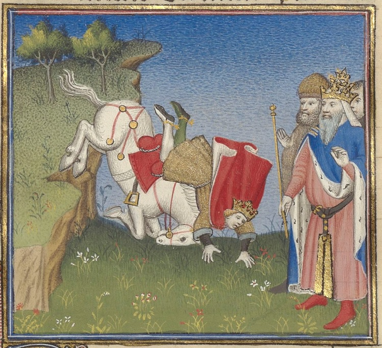 n the left side of the image is a cliff. A white horse is toppling off the cliff, throwing its male rider, who is wearing a crown, red cape, and brown tunic. On the right side of the image is a group of men. The foremost man is wearing a pink robe, blue cloak, and crown, while holding a gold scepter.