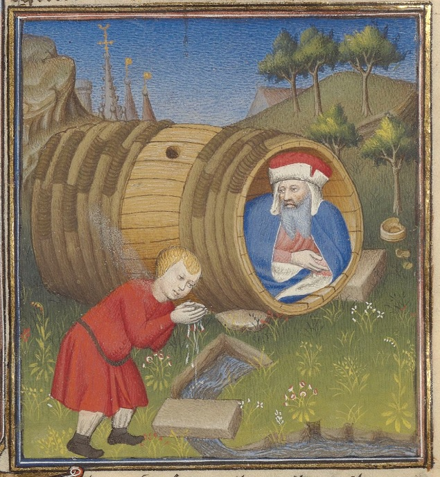 Boy in a red tunic drinks water from a stream with cupped hands in foreground, in mid ground there is a man in a blue cloak and red hat in an open barrel on its side, and in the background there are building steeples.