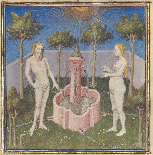 A naked man stands on the left side, and a naked woman on the right side. Between them is a pink fountain, with a tower in the middle which has water spurting from it into the fountain. In the background there are trees with a white wall, under a blue sky and golden sun.
