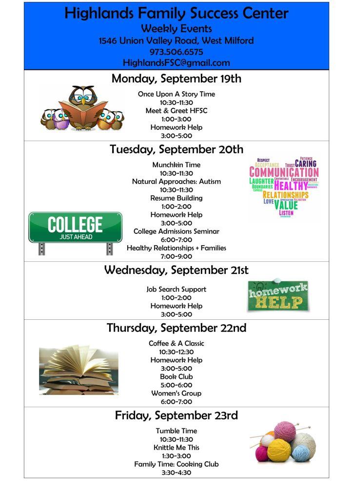 Week of Sept 19, 2016