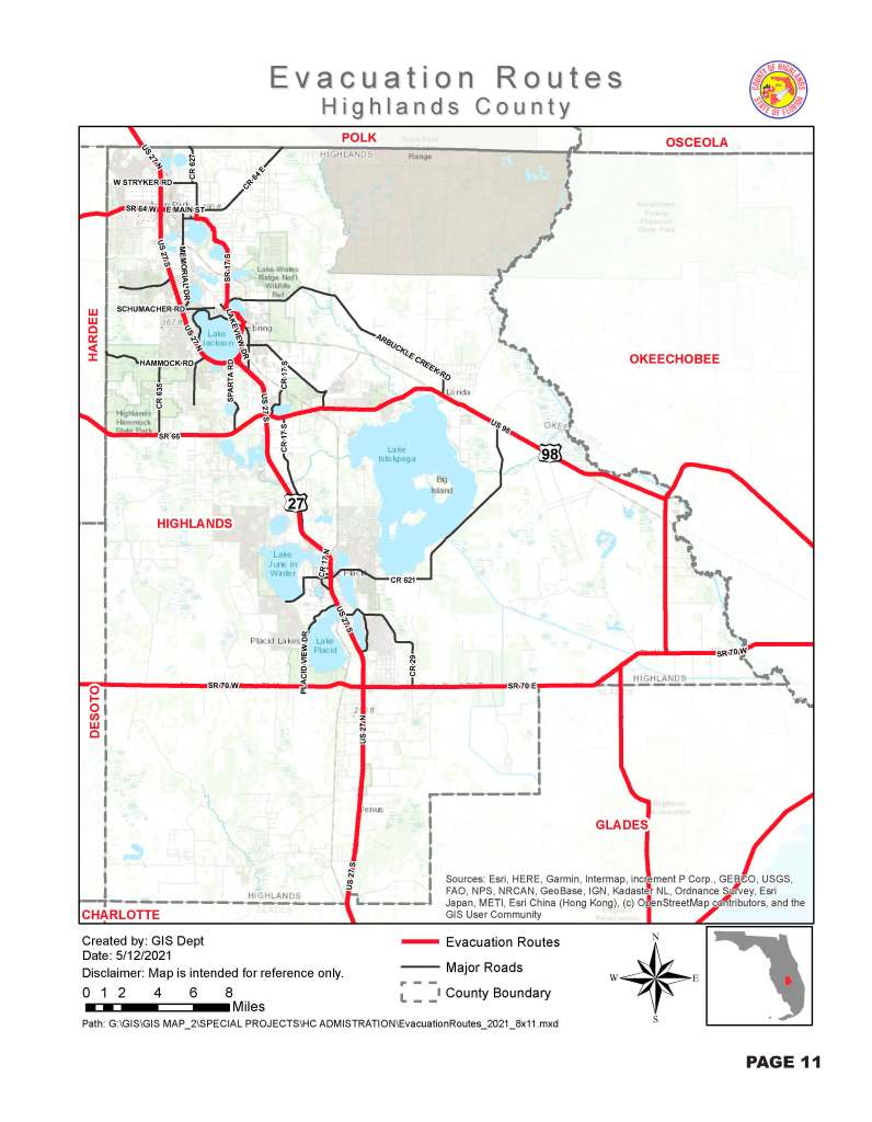 Highlands County Evacuation Routes