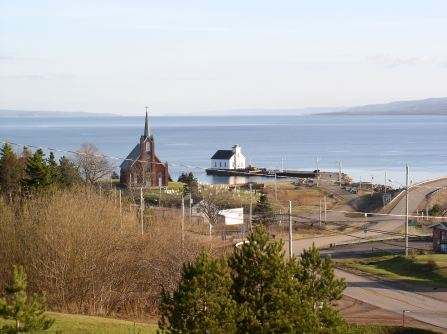 View of the church sitting at the dock beside the St. Columba church