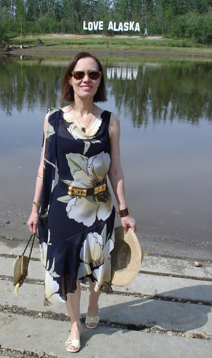 mature woman in maxi summer dress
