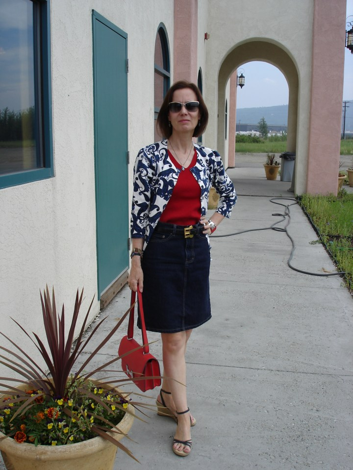 #agelessStyle mature woman in a denim skirt for Casual Friday
